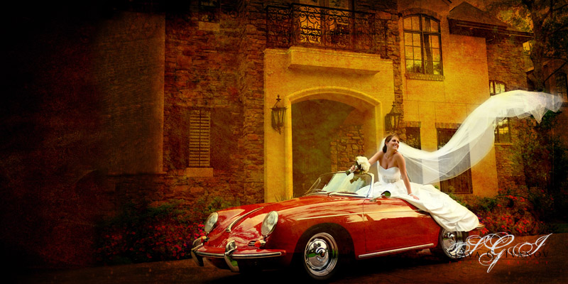 Bride on top of porsche
