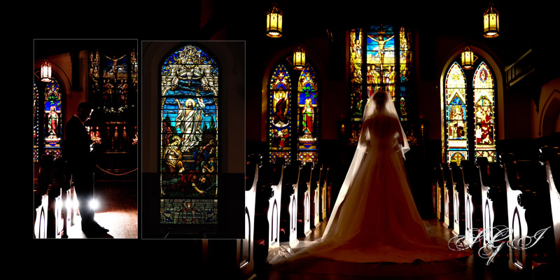 Bride and groom at the crist church cathedral