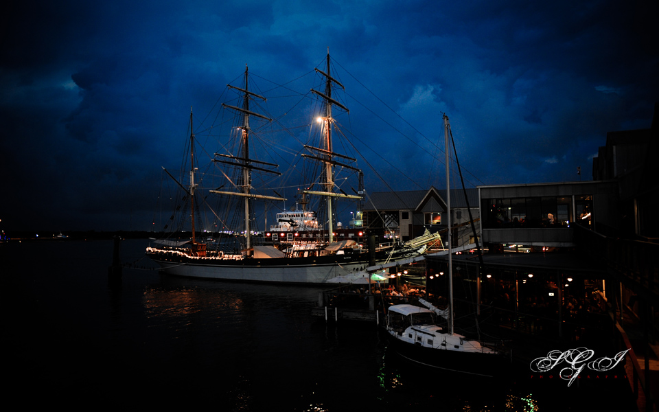 A night view of the Tall Ship Elissa