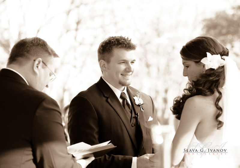 Exchange of rings at texas outdoor wedding