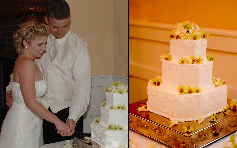 Bride and groom cutting the cake at the wedding at Ashton Villa in Galveston Tx