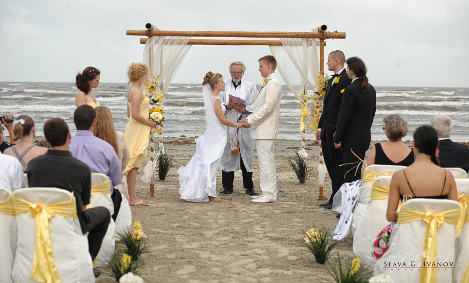 Wedding Ceremony on Galveston Beach