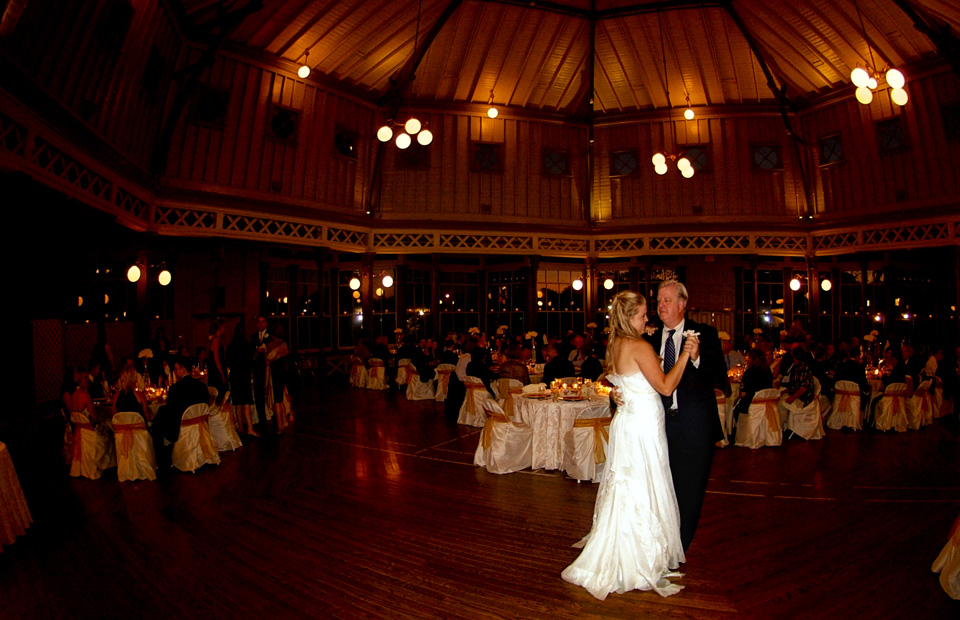 Bride dancing with her father at Garten Verein in Galveston Texas