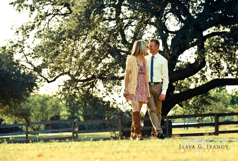 Couple walking in the country during a vintage style photo session