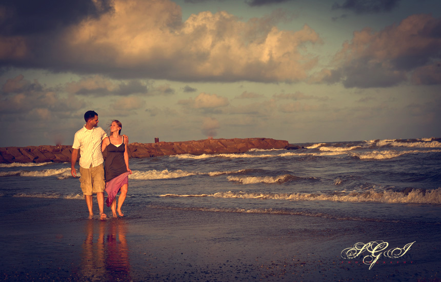 Vintage photography on Galveston beach