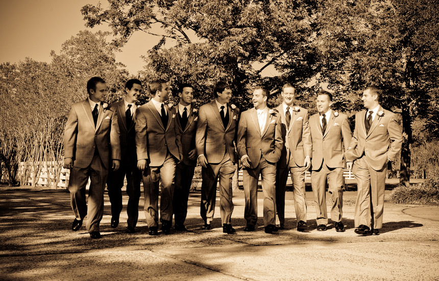 Groom and his groomsmen walking to the wedding at Ashelynn Manor in Magnolia Texas