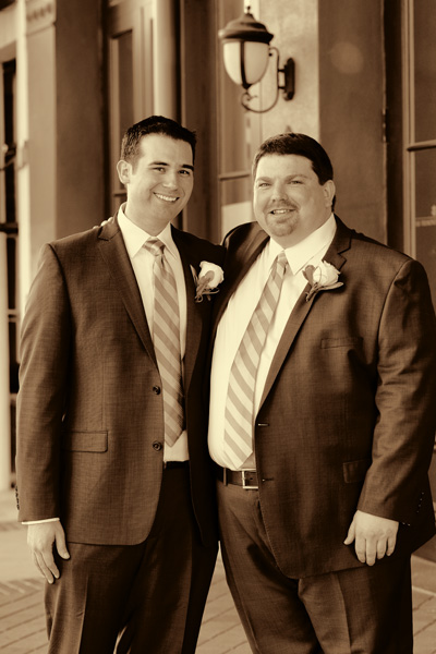 Groom and his best man before the wedding ceremony at the Tremont House Hotel