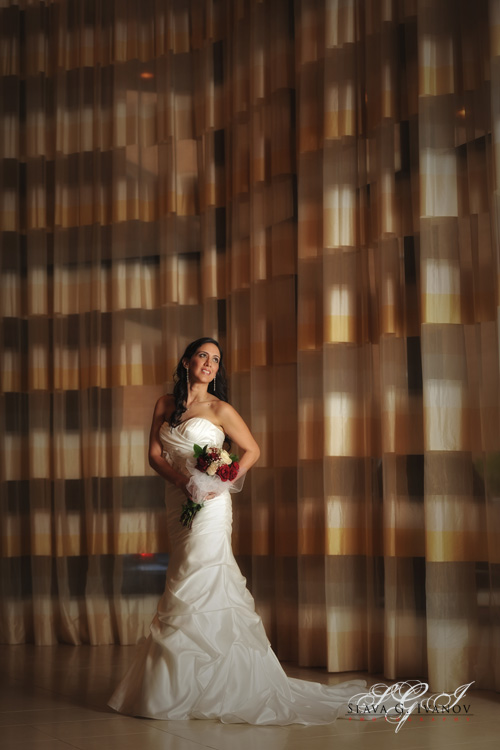 The bride looked stunning in her wedding dress in the lobby of the four seasons hotel houston