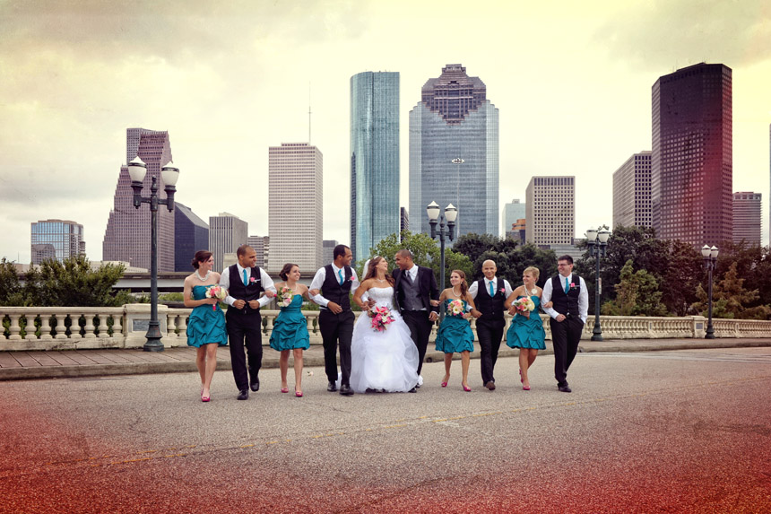 wedding party in downtown houston sky line