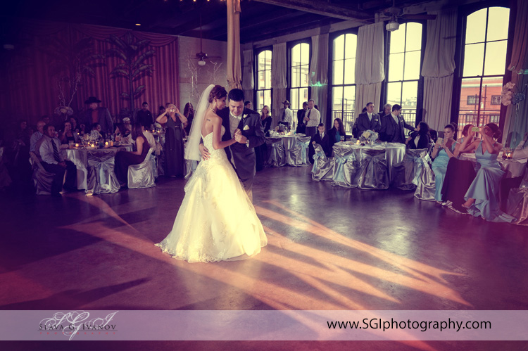 First Dance at Trolly Station Galveston reception hall photography wedding